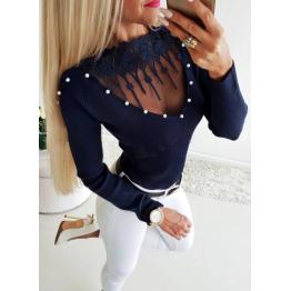 Blusa Sexy con Encaje y Escote en V