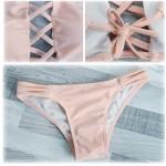 Bikini con cordones entrelazados push up