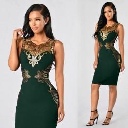 Estupendo Vestido Con Detalles Dorados