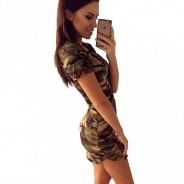 Vestido de Camuflaje sexy con apertura lateral