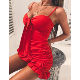 Vestido Sexy Rojo Con Lazo