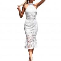 Elegante Vestido Blanco De Encaje